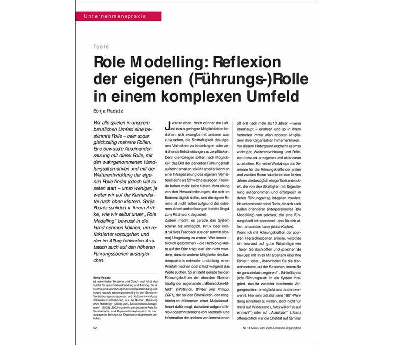 Role Modelling: Reflexion der eigenen (Führungs-)Rolle in einem komplexen Umfeld