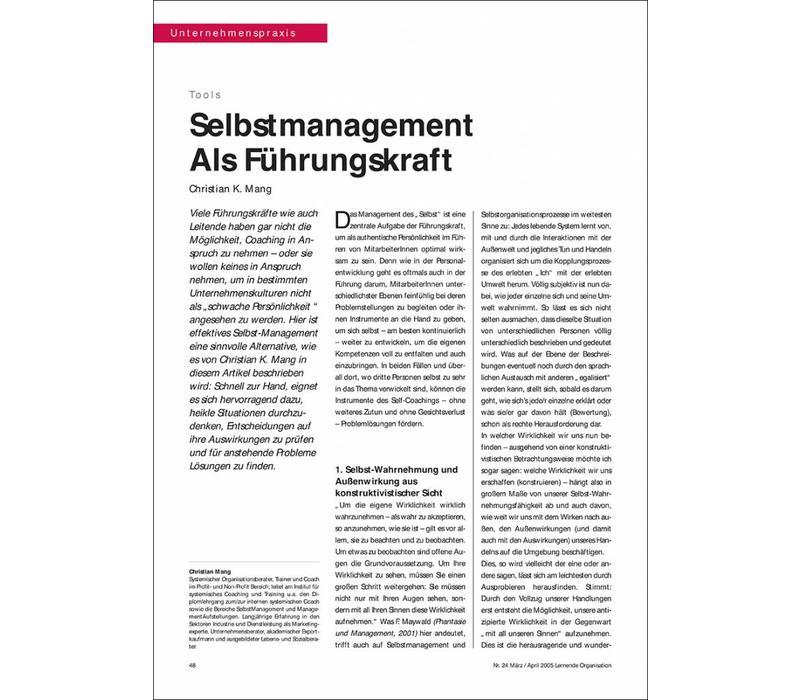 Selbstmanagement als Führungskraft