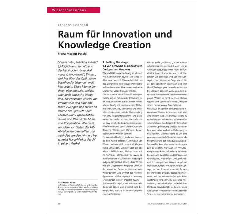 Raum für Innovation und Knowledge Creation
