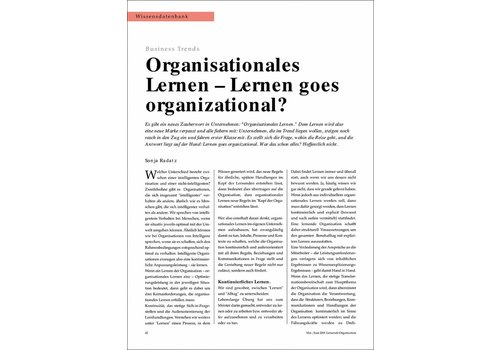 Organisationales Lernen - Lernen goes organizational?