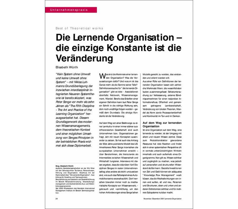 Die Lernende Organisation – die einzige Konstante ist die Veränderung