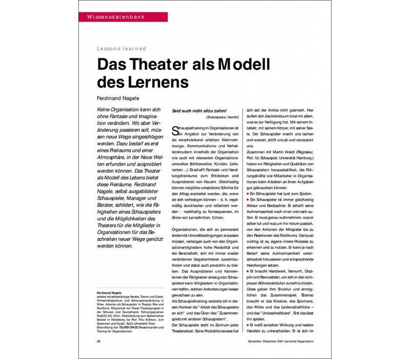 Das Theater als Modell des Lernens