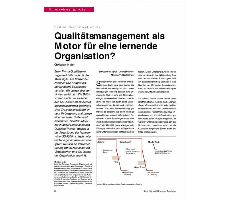 Qualitätsmanagement als Motor für eine lernende Organisation?