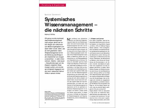 Systemisches Wissensmanagement – die nächsten Schritte