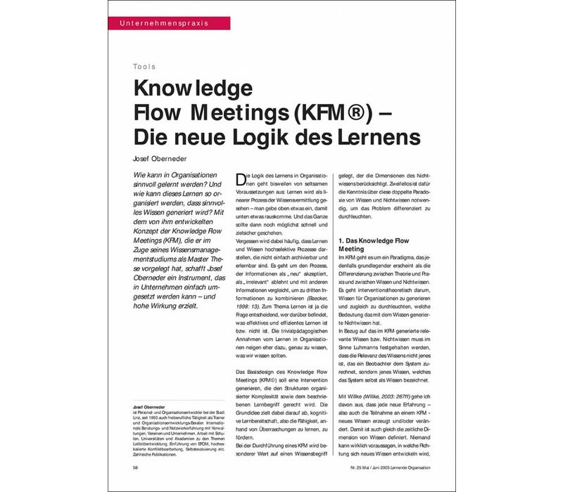 Knowledge Flow Meetings (KFM©) – Die neue Logik des Lernens