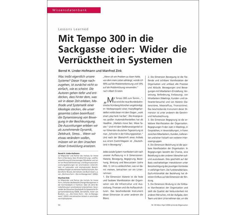 Mit Tempo 300 in die Sackgasse oder: Wider die Verrücktheit in Systemen