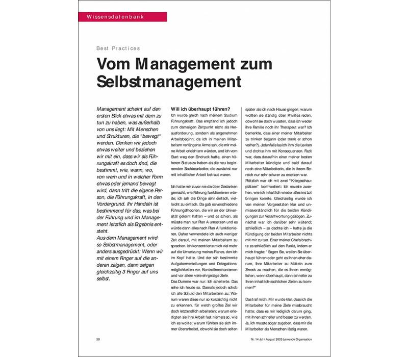 Vom Management zum Selbstmanagement