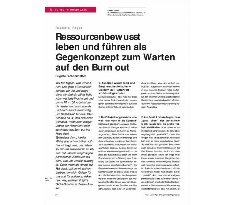 Ressourcenbewusst leben und führen als Gegenkonzept zum Warten auf den Burn out