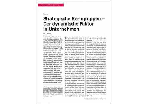 Strategische Kerngruppen – Der dynamische Faktor in Unternehmen