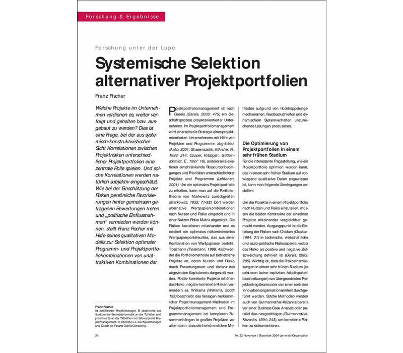 Systemische Selektion alternativer Projektportfolien