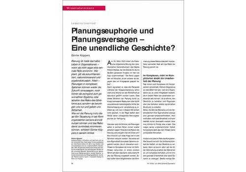Planungseuphorie und Planungsversagen – Eine unendliche Geschichte?