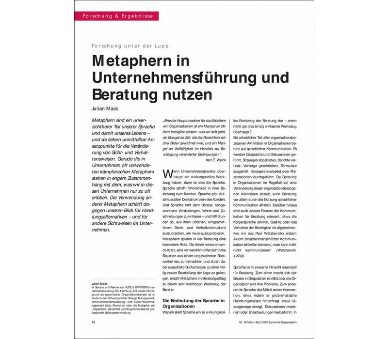 Metaphern in Unternehmensführung und Beratung nutzen