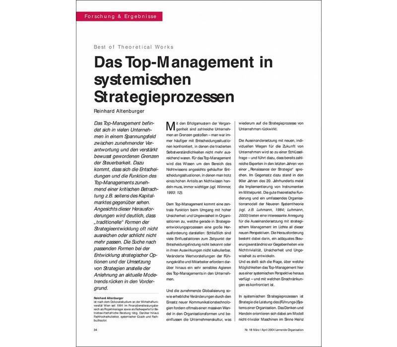 Das Top-Management in systemischen Strategieprozessen