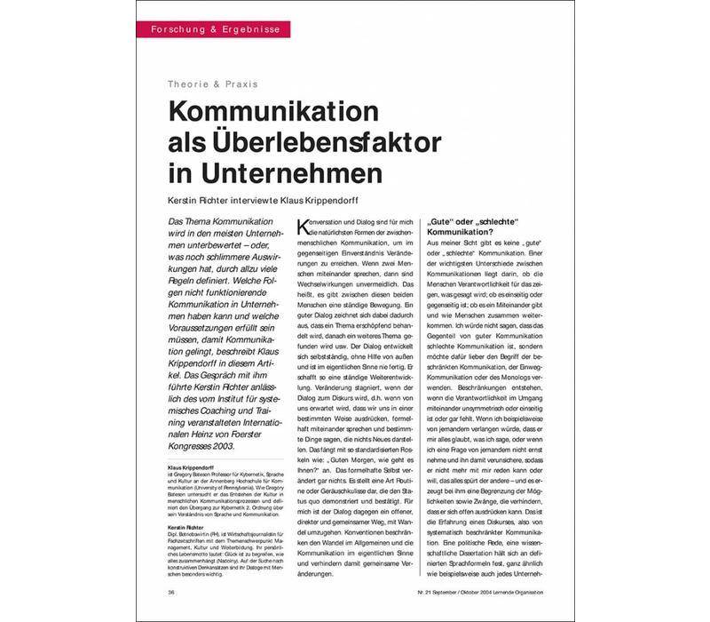 Kommunikation als Überlebensfaktor in Unternehmen