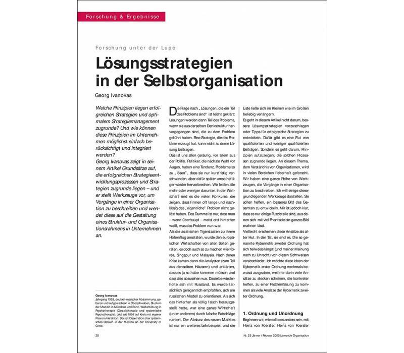 Lösungsstrategien in der Selbstorganisation