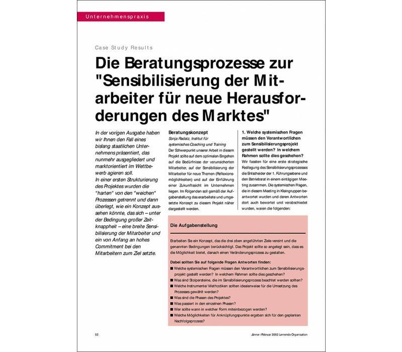 """Die Beratungsprozesse zur """"Sensibilisierung der Mitarbeiter für neue Herausforderungen des Marktes"""""""