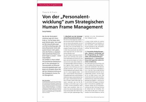 """Von der """"Personalentwicklung"""" zum Strategischen Human Frame Management"""