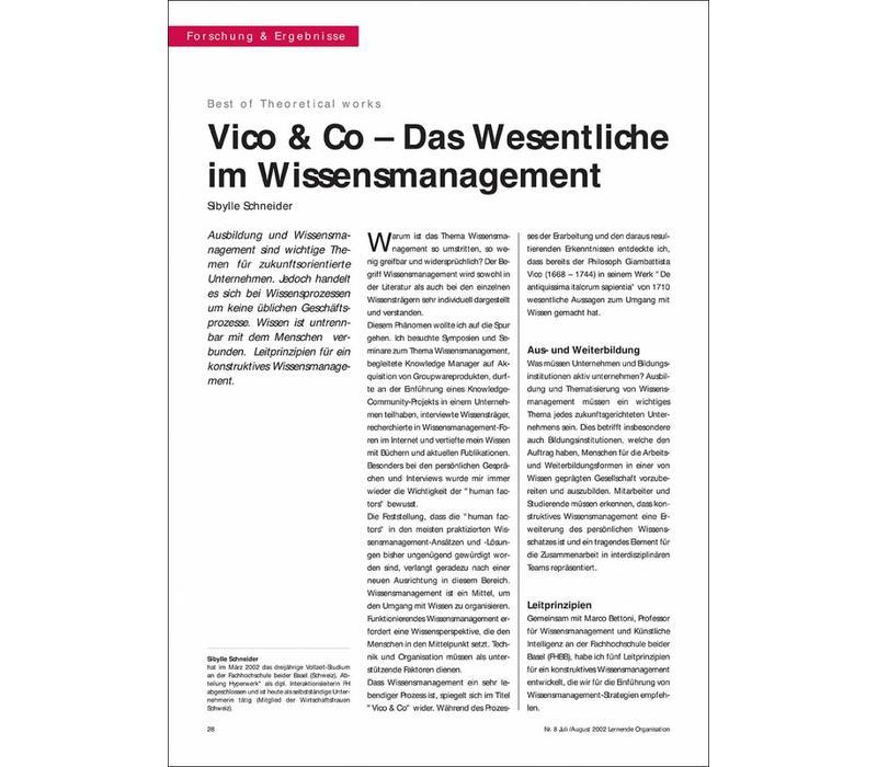 Vico & Co – Das Wesentliche im Wissensmanagement