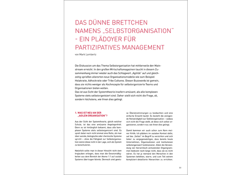 """Selbstorganisation"": ein Plädoyer für partizipatives Management"