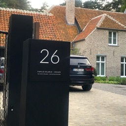Modern name plate black aluminum with house number