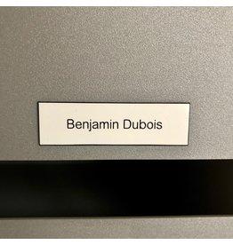 Nameplate in white plastic