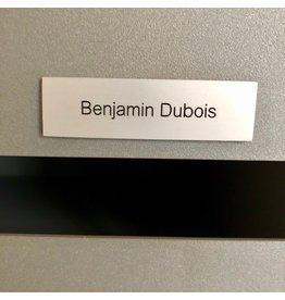 Nameplate in silver aluminium