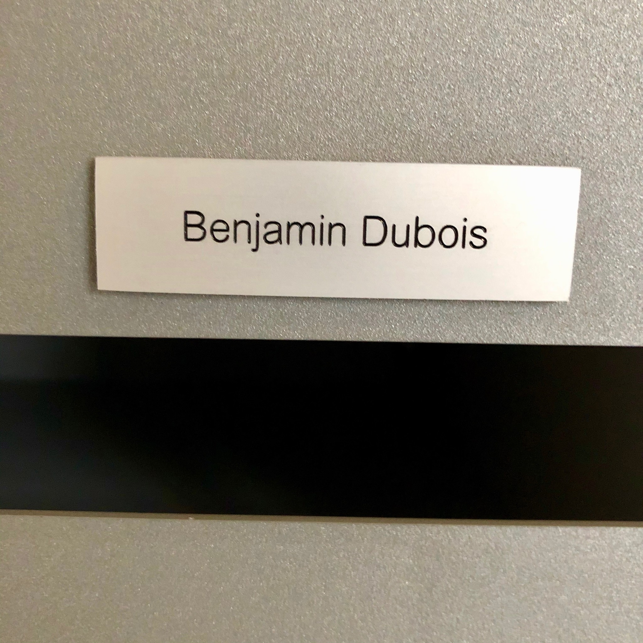 Nameplate in silver aluminium for letter box, bell or lift