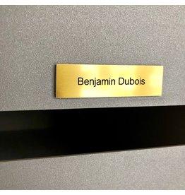Nameplate in gold aluminium
