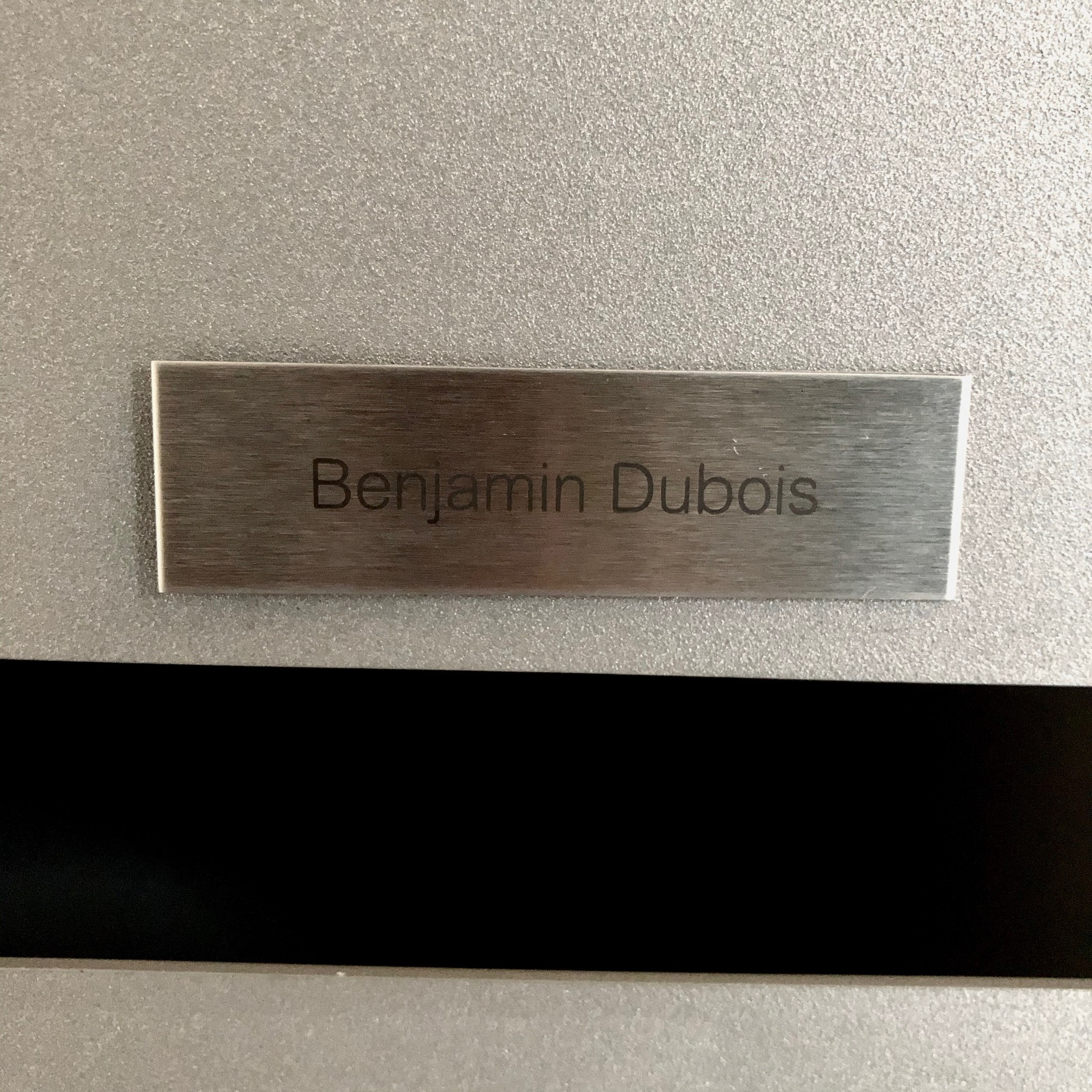 Nameplate in stainless steel for letter box, bell or lift