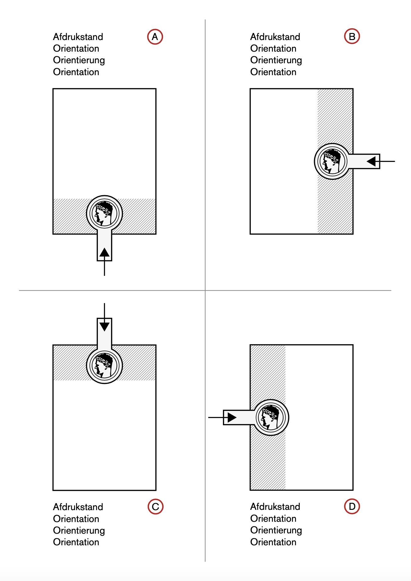 Klassieke gietijzeren blinddrukstempel ø 45 mm - zwart