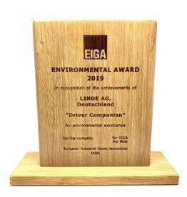 Award in wood, laser engraved