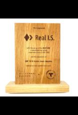 Gepersonaliseerde houten award met lasergravure (200 x 150 x 20 mm)