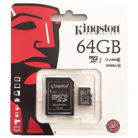 Kingston Micro SD kaart 64GB class 10 45Mb/s lees