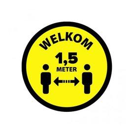 Houd 1.5 meter afstand sticker Geel Zwart  Ø200mm