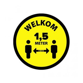 Houd 1.5 meter afstand sticker Geel Zwart  vinyl Ø200mm
