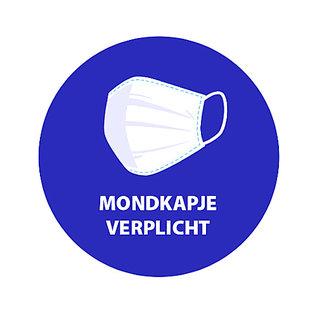 Mondkapje verplicht sticker Blauw Wit  vinyl Ø200mm