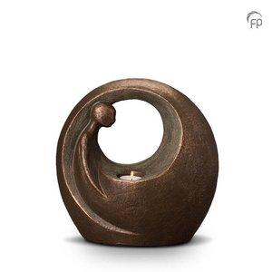 Geert Kunen  UGK 039 BT Keramische urn brons Eenzaam, maar niet alleen (waxine)