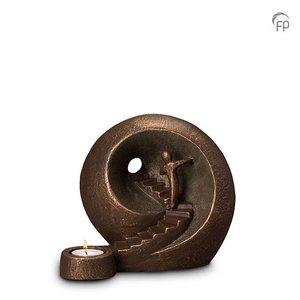 Geert Kunen  UGK 041 AT Keramische urn brons Naar het licht (waxine)
