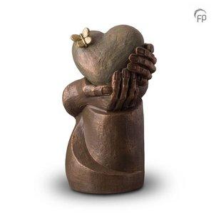 Geert Kunen  UGK 065 B Keramische urn brons Hartepijn op zuil