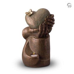 Geert Kunen  UGK 065 BT Keramische urn brons Hartepijn op zuil (waxine)