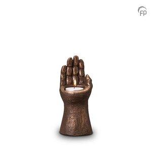 Geert Kunen  UGK 145 AT Keramische urn brons Handje (waxine)