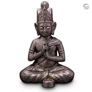 Geert Kunen  UGKS 302 BT Keramische urn zilver Boeddha Dai Nichi (waxine)