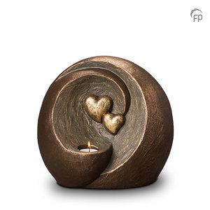 Geert Kunen  UGK 075 DT Keramische Duo urn brons Eeuwige verbintenis (waxine)