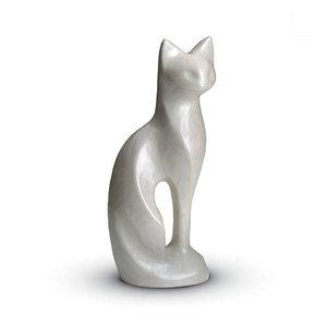 HU 192 Messing Tierurne Katze weiß
