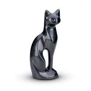 HU 192 Messing Tierurne Katze schwarz