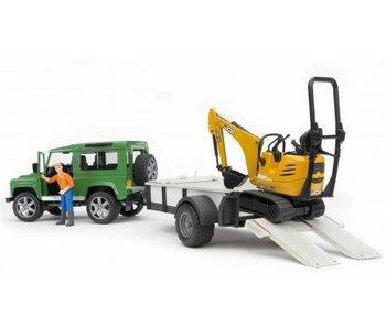 Bruder Land Rover Defender met aanhanger en JCB kraan met bestuurder