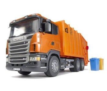 Bruder Scania oranje vuilniswagen