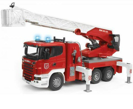 Bruder vrachtwagen 3590 - Scania R-Serie Brandweer met Spuit en Sirene