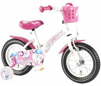 Kanzone Giggles Wit Roze 12 inch meisjesfiets