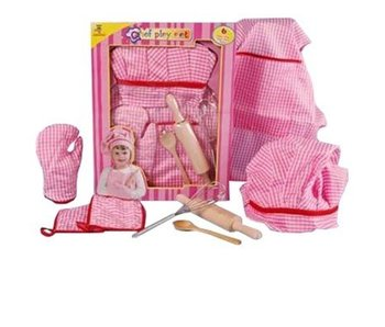 Keukenschort roze ruit 6-delig